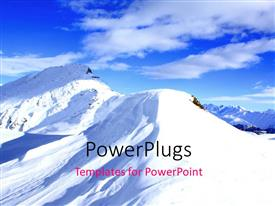 PowerPlugs: PowerPoint template with mountains covered in snow with clear sky in the background