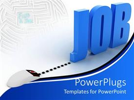 PowerPoint template displaying a mouse attached to the word job with white background