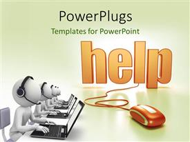 PowerPlugs: PowerPoint template with a mouse connected to the word help with a lot of people working on laptops