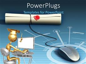 PowerPoint template displaying a mouse and figure working on the computer with bluish background