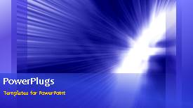 PowerPoint template displaying moving depiction of sparkling light over blue background  - widescreen format
