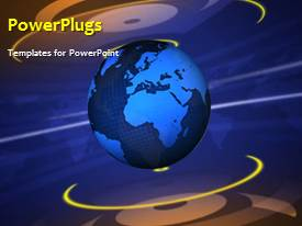 PowerPlugs: PowerPoint template with a moving globe with bluish background