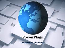 PowerPlugs: PowerPoint template with a moving globe with a number of puzzle pieces in background