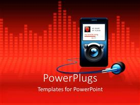 PowerPoint template displaying mP3 player with alien on screen and headphones, equalizer red background