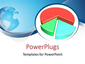 PowerPlugs: PowerPoint template with multi-colored 3D pie-chart with world map and blue curve