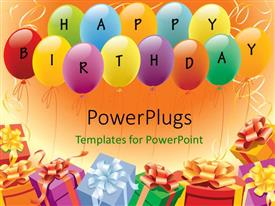 PowerPlugs: PowerPoint template with multi color balloons and gifts depicting birthday and party theme