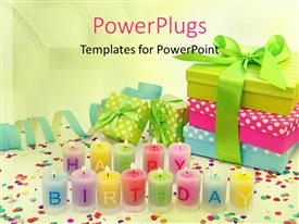 PowerPoint template displaying multi color happy birthday candles and gift box sets in the background