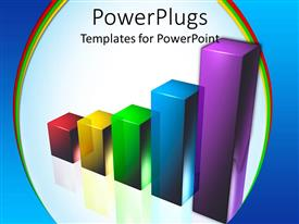 PowerPlugs: PowerPoint template with multi colored 3D shiny bar chart on a white background