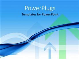 PowerPoint template displaying multi colored arrows pointing upwards over blue background
