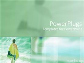 PowerPlugs: PowerPoint template with a multi colored background and a woman standing by the sea