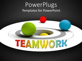 PowerPlugs: PowerPoint template with multi colored balls on a circular surface with teamwork text