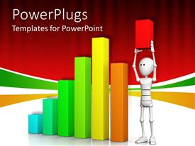 PowerPoint template displaying multi colored bar chart with an animated figure raising up a short red bar