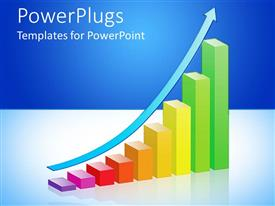PowerPlugs: PowerPoint template with multi colored bar chart with an arrow moving from down up