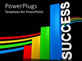 PowerPoint template displaying a multi colored bar chart with a text that spells out the word