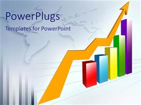 PowerPlugs: PowerPoint template with multi colored bar graphs with yellow arrow in white background