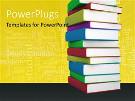 PowerPlugs: PowerPoint template with multi colored books stacked with education keywords in the background
