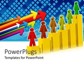 PowerPlugs: PowerPoint template with multi colored characters standing on gold colored bar charts