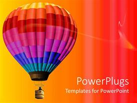 PowerPoint template displaying multi colored hot air balloon flying in colorful background