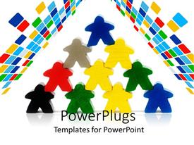 PowerPlugs: PowerPoint template with multi colored human characters stacked up in a pyramid shape
