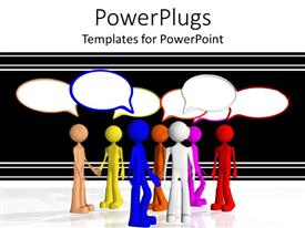 PowerPlugs: PowerPoint template with multi colored human figures having a discussion on a black background