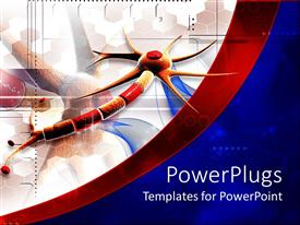 PowerPlugs: PowerPoint template with multi colored neuron thread, on a blue and red image