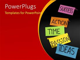 PowerPlugs: PowerPoint template with multi colored notes with texts spelling out different words