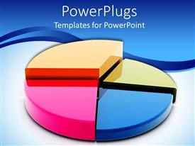 PowerPoint template displaying multi colored pie chart graph white and blue background