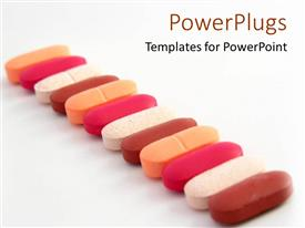 PowerPlugs: PowerPoint template with multi colored pills lined up straight on a white background