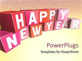 PowerPlugs: PowerPoint template with multi colored stacked boxes with the text 'happy new year'