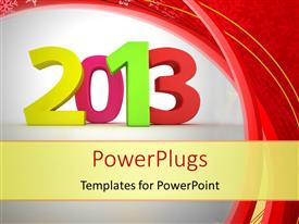 PowerPlugs: PowerPoint template with a multi colored text that spell out the word '2013'