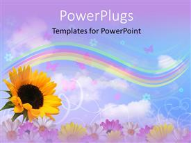PowerPlugs: PowerPoint template with multicolor flowers with rainbow, butterflies and sky
