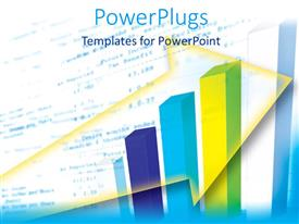 PowerPlugs: PowerPoint template with multicolored bar chart with yellow arrow outline on white background