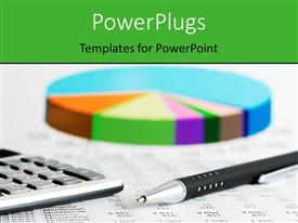 PowerPoint template displaying multicolored blurry pie chart with a pen and keypad