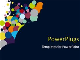 PowerPlugs: PowerPoint template with multicolored circles rising up from dark background