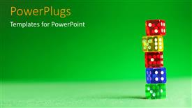 PowerPoint template displaying a number of colorful dices with greenish background