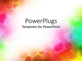 PowerPlugs: PowerPoint template with multicolored discs on rainbow background, red, orange, yellow, green
