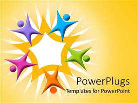 PowerPlugs: PowerPoint template with multicolored figures arranged around orange star, teamwork