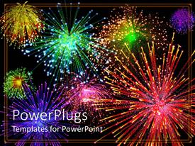 PowerPlugs: PowerPoint template with multicolored fireworks light up night sky, red, green, yellow, purple