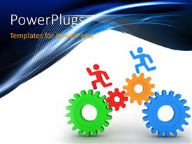 PowerPoint template displaying multicolored gears with running figures and bluish background
