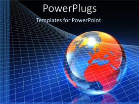 PowerPlugs: PowerPoint template with multicolored globe sphere with charts on blue background
