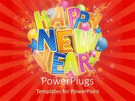PowerPlugs: PowerPoint template with multicolored Happy New Year on red striped background