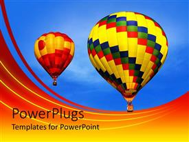 PowerPlugs: PowerPoint template with multicolored hot air balloons drifting across clear blue sky