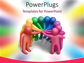 PowerPlugs: PowerPoint template with multicolored human figures concluding a treaty