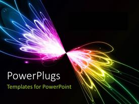 PowerPoint template displaying multicolored lights with blackish background and place for text