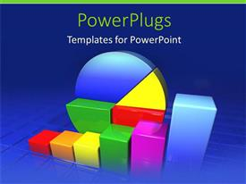 PowerPlugs: PowerPoint template with multicolored pie charts and graphs increasing salary profits on blue background