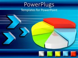 PowerPoint template displaying multicolored pie graph with blue background