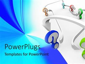PowerPlugs: PowerPoint template with multicolored question marks with arrows pointing from one to the next