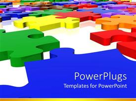 PowerPlugs: PowerPoint template with multicolored three dimensional puzzle pieces on white surface