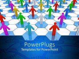 PowerPlugs: PowerPoint template with multicolored two dimensional figures on blue and white hexagonal background