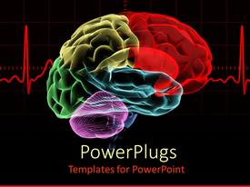 PowerPlugs: PowerPoint template with multicolored x-ray human brain with a red heart rate related to cranium neurology science on a black background